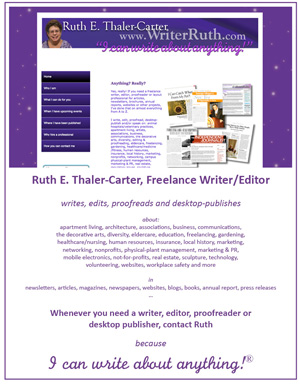 Ruth E. Thaler-Carter, Writer/Editor Featured Graphic
